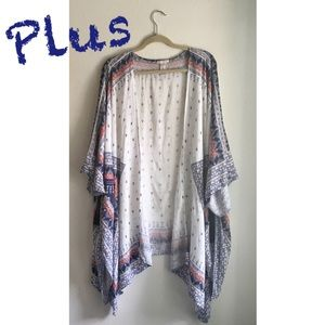 Plus Red/White/Blue Bandanna Print Kimono Cover-Up